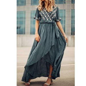 Dresses & Skirts - Faux Wrap Dress with Embroidery